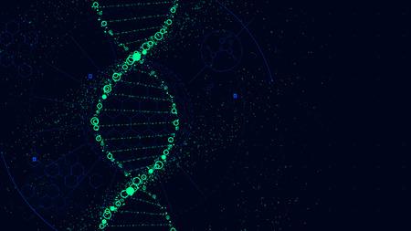 DNA の分子構造、近未来サイエンス フィクション インタ フェース、ベクトルの背景