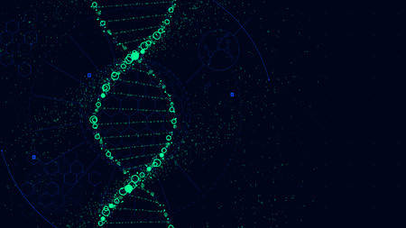 DNA molecule structure, Futuristic Sci-Fi interface, vector background