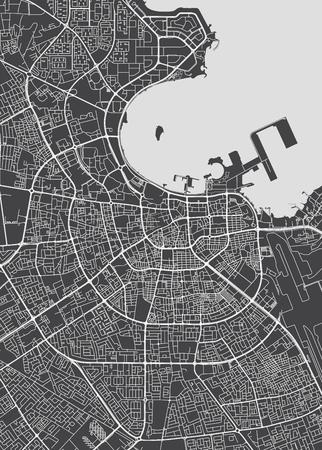 Doha city plan, detailed vector map