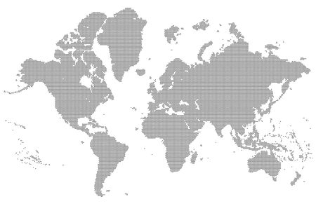 Dotted detailed map of the world vector silhouette