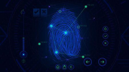 지문 스캐닝 식별 시스템, 미래 지향적 인 sci-fi 블루 인터페이스, 생체 인증 기술