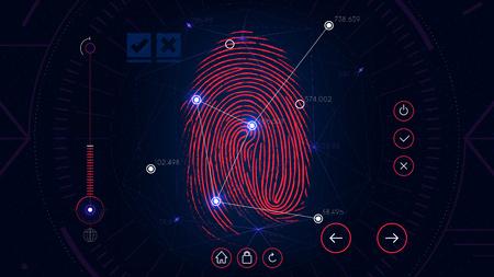 Sistema de identificação de digitalização de impressões digitais, interface futurista sci-fi vermelho, tecnologia de autorização biométrica