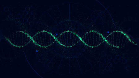 Futuristic illustration of the structure of DNA, Sci-Fi interface, vector background Çizim