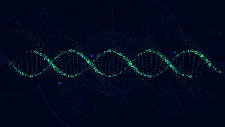 Futurystyczna ilustracja struktury DNA, interfejs Sci-Fi, tło wektor