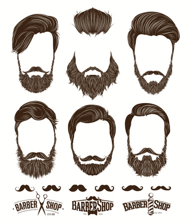 shaver: Hairstyle and beard hipster fashion, Barbershop Emblems set vector illustrations