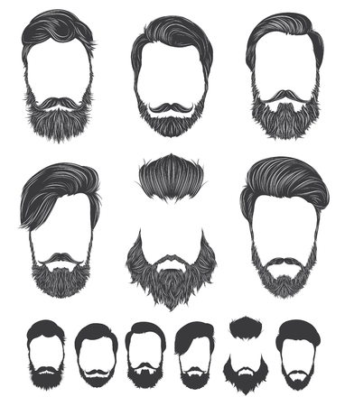 Hairstyle and beard hipster fashion, set vector illustrations