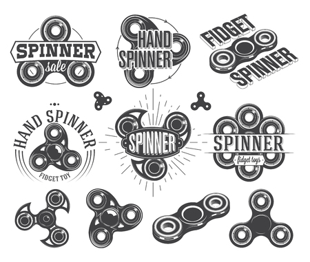 Hand spinner Emblems and Logos, fidget toys vector illustration