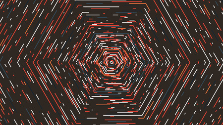 Hexagonal tunnel in retro colors, Abstract vector background