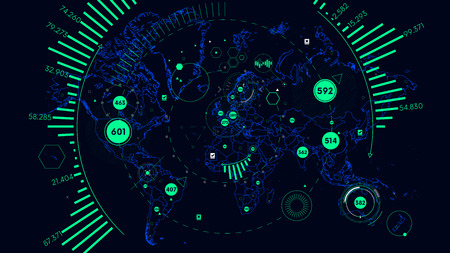 HUD futuristic interface data visualization, Vector world map of world analytics