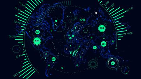 Visualizzazione dei dati dell'interfaccia futuristica HUD, mappa del mondo vettoriale di analisi del mondo Archivio Fotografico - 84518903