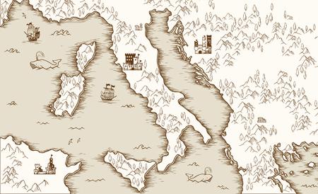 Vecchia mappa d'Italia, cartografia medievale, illustrazione vettoriale Archivio Fotografico - 84518953