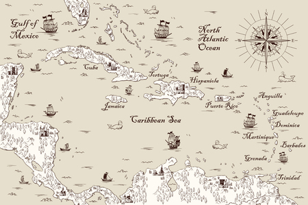 Old map of the Caribbean Sea, Vector illustration 免版税图像 - 84518521