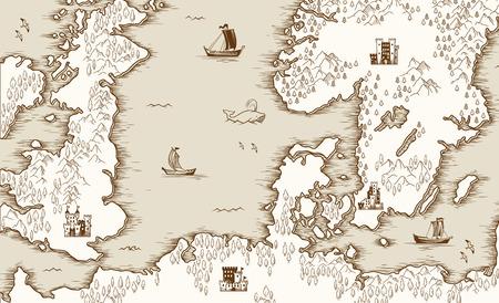 Vecchia mappa del Mare del Nord, Gran Bretagna e Scandinavia, illustrazione vettoriale
