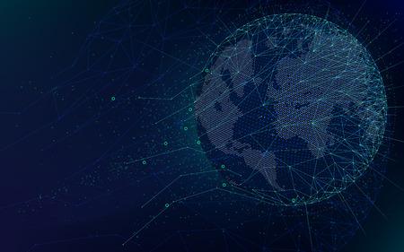 Sci-fi futuristische technologieën, wereldwijd netwerk met wereldkaart, abstracte vector oneindige ruimteachtergrond Stock Illustratie