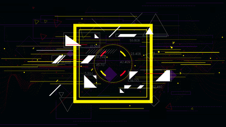 Tech futuristic abstract colorful square, sci-fi vector geometric backgrounds