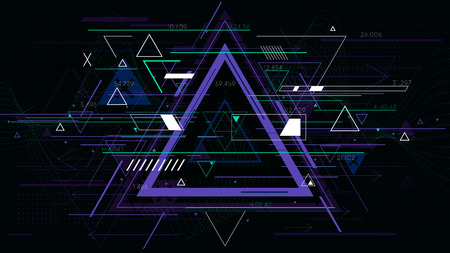 Tech futuristic abstract triangle geometric backgrounds, sci-fi vector illustration