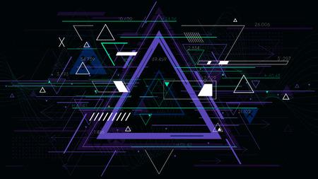 Fondos geométricos del triángulo abstracto futurista de la tecnología, ilustración del vector de la ciencia ficción