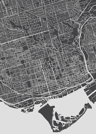 Toronto city plan, detailed vector map.