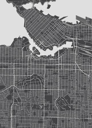 Plan de ville de Vancouver, carte vectorielle détaillée. Banque d'images - 84555067
