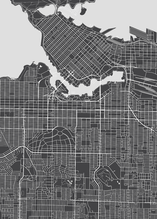 Vancouver city plan, detailed vector map.