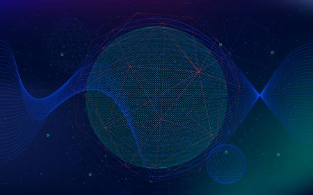 無限の空間のベクトルの背景、抽象的な未来ハイパースペース宇宙、サイファイの技術。