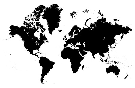 Detailed map of the world vector silhouette