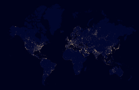 Detailed night map of the world with lights cities