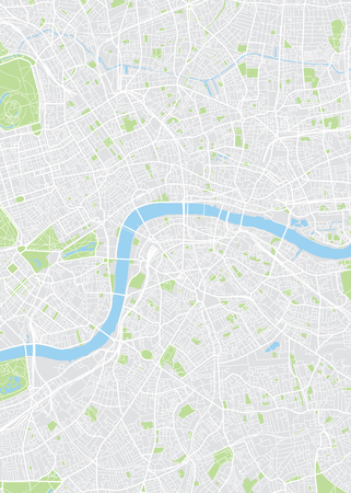 Colored plan map of London, aerial view