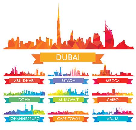 Kleurrijke horizon Het Arabische schiereiland en Afrika