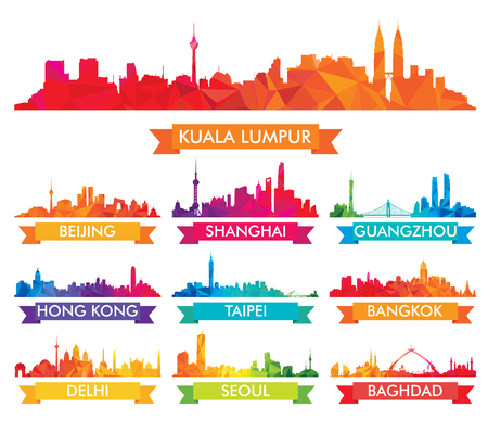 Colorful Skyline of Asian Cities 版權商用圖片 - 84642876