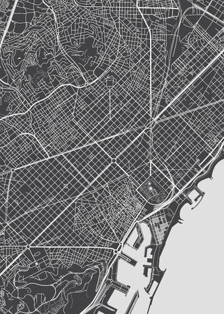 바르셀로나 도시 계획, 상세한 벡터지도 일러스트