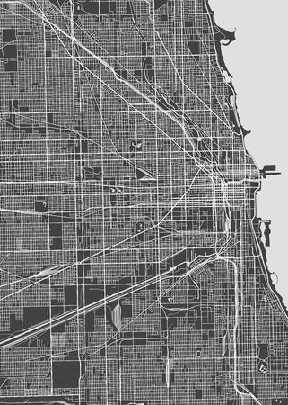 시카고 도시 계획, 상세한 벡터지도 일러스트
