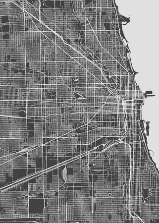 Chicago city plan, detailed vector map Imagens - 84720358