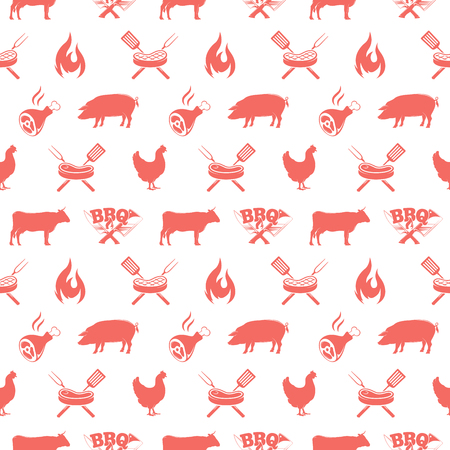 BBQ seamless pattern, vector illustration with barbecue grill elements Illustration