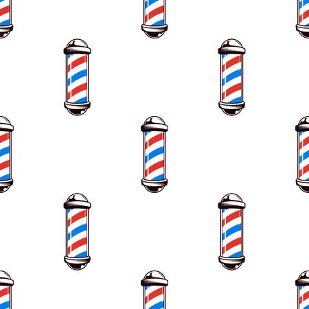 Colorful seamless pattern with barber poles, vintage vector illustration Illustration