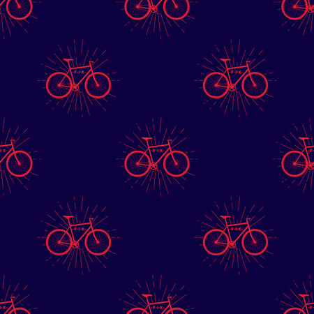 Colorful seamless pattern with fix bike, hipster style, vector
