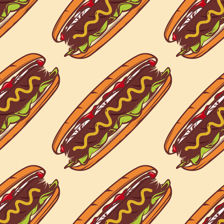 Colorful seamless pattern with hot dog, vector background for fast food