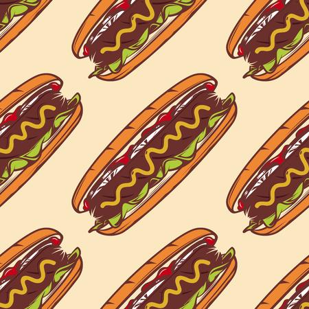 Buntes nahtloses Muster mit Hotdog, Vektorhintergrund für Schnellimbiß Standard-Bild - 84720368