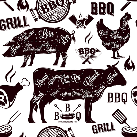 Meat cuts and barbecue seamless pattern, vector illustration Ilustrace