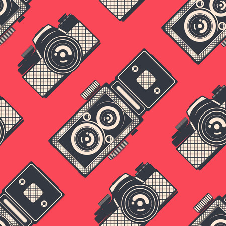 Retro seamless pattern with vintage cameras, vector background Illusztráció