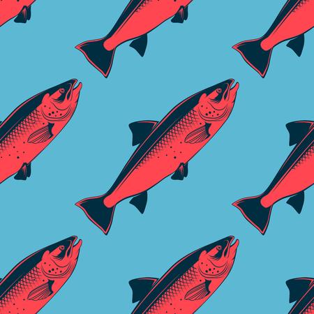サーモン ピンクのベクトル図シーフード シームレス パターン  イラスト・ベクター素材