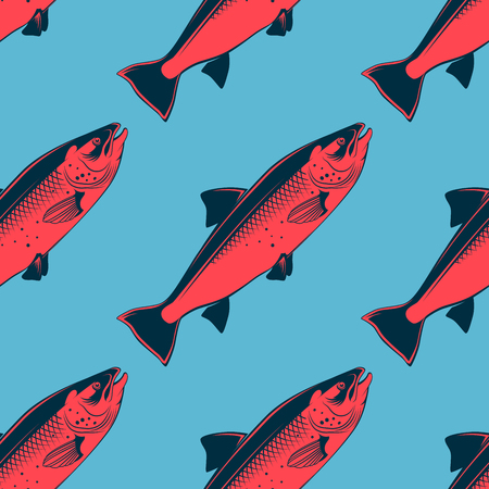 Seafood seamless pattern with pink salmon, vector illustration