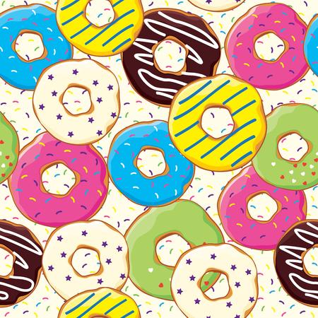Naadloos patroon met bakkerij en patisserie producten, vectorillustratie voor druk