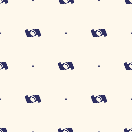 Seamless pattern minimalistic background with stylized photo camera, vector illustration