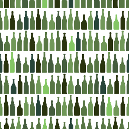 Seamless pattern of rows of multi-colored wine bottles, vector illustration