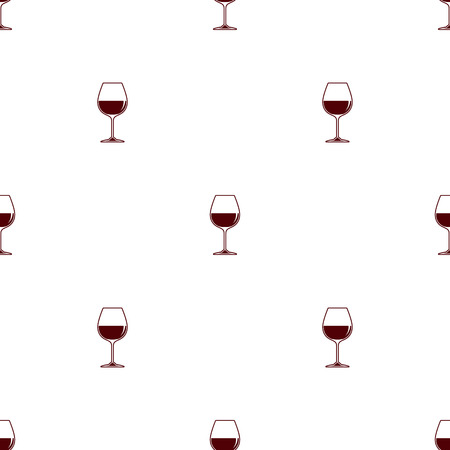 Seamless pattern vector minimalist background with wineglass red wine Illustration