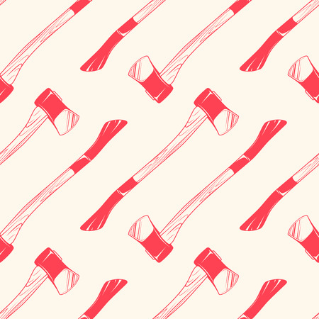 Seamless pattern with axes vintage style, vector illustration for backgrounds
