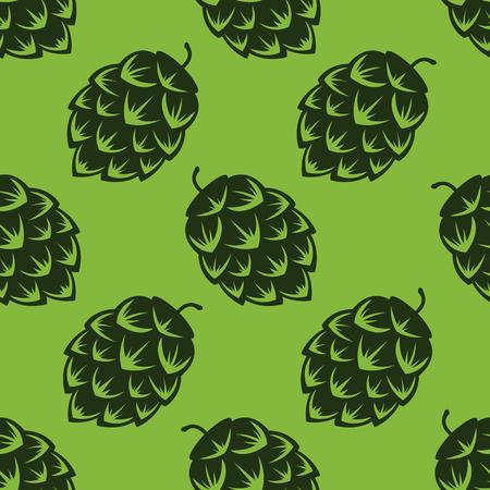 緑色のビールのホップ、カラフルなベクトル図でシームレスなパターン  イラスト・ベクター素材