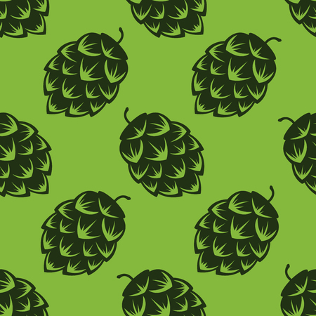 Seamless pattern with green beer hops, colorful vector illustration Ilustração