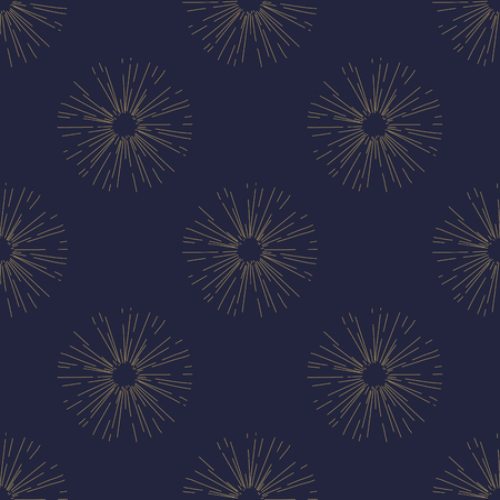 サンバーストのシームレスなパターン ヴィンテージスタイル、光線ベクトル ゴールデン